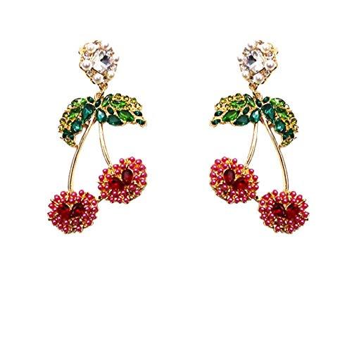 Vvff Pendientes De Gota De Cereza De Cristal Completo Para Mujeres Estudiantes Elegantes Pendientes De Perlas De Vacaciones Joyería
