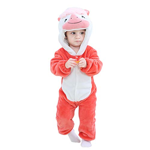 IDGIRL Baby Costume, Animal Cosplay Pajamas for Boy Winter Flannel Romper Outfit 18-24 Months,Red One Piece