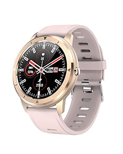 Ksix Smartwatch Eclipse para Mujer. Multideporte Medidor de pulsaciones, Sumergible 1 m, Pantalla Full Touch 100% Redonda