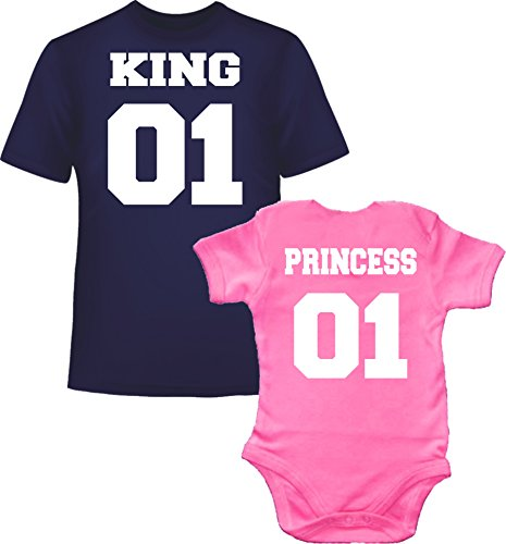 King 01 Princess 01 Tee Shirt Marine pour Homme et Body Rose