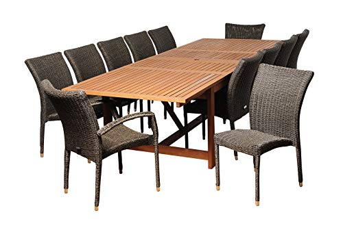 Amazonia Marquette 13-Piece Patio Rectangular Dining Table Set | Eucalyptus Wood and Wicker Chairs | Ideal for Outdoors and Indoors, 118Lx42Wx36H