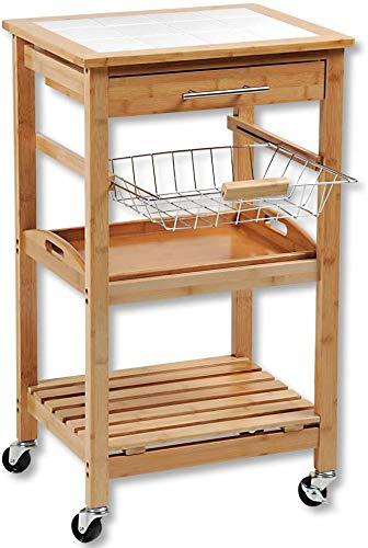 KESPER Küchenwagen 25776-13 mit gefliester Arbeitsplatte/Bambus/Servierwagen