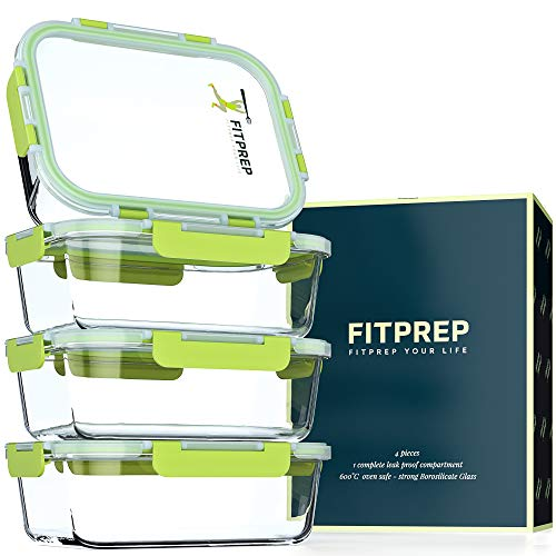 FITPREP® Frischhaltedosen aus Glas 8 teiliges Set [4 Meal Prep Boxen + 4 Deckel mit 880ml ] Premium Glasbehälter mit Lifetime Lasting Deckel - perfekte Größe für Meal Prep