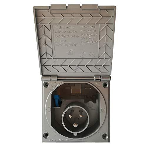 CEE Steckdose für Wohnmobil Caravan bzw. Wohnwagen * Farbe: Silber * Einbaustecker Einbausteckdose Stromanschluss Einspeisungsstecker Einspeisungssteckdose Anschlussdose