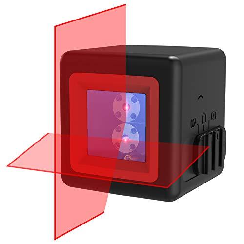 Kreuzlinienlaser, RockSeed 2 Laserquellen Kreuz-Linienlaser mit Selbstnivellierend Neigungsfunktion 1m Bruchsicher IP54 Spritzwasserschutz 20m Messbereich für Innendekoration inkl. Schutztasche