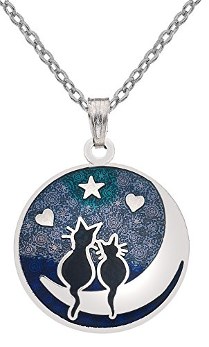Sea Gems Cat & Moon Enamel Necklace