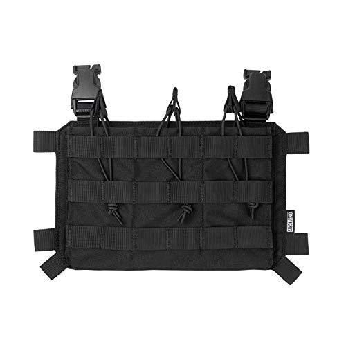 OneTigris Magazinetaschen DREI-Fach Taktisches Plakat 03 für M4 Gewehrmagazine komptibel mit Chest Rig Plattenträger mag Pouch |MEHRWEG Verpackung (Schwarz)