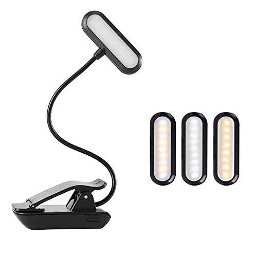 Burhetten 9 LED USB recargable de cuidado de los ojos luz de libro caliente clip en lámpara de mesa regulable para soporte de música lectura nocturna piano indicador de potencia