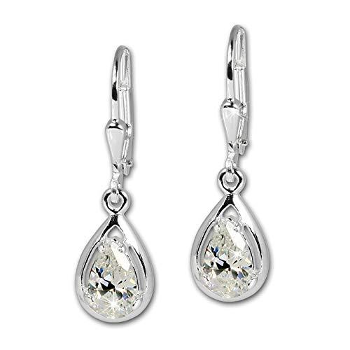 SilberDream Ohrringe Damen-Schmuck 925er Silber Ohrhänger Träne weiß SDO520W
