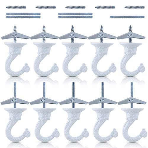 Glarks 10 Sets/40Pcs 1.5 Inch Heavy Duty Swag Hook Ceiling Hook with Steel Bolts and Toggle Wings for Ceiling Installation Cavity Wall Fixing, White Enamel Finish