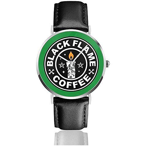 90er Jahre Hocus Pocus Black Flame Candle Kaffee Logo Uhren Quarz Lederuhr mit schwarzem Lederband für Sammlung Geschenk