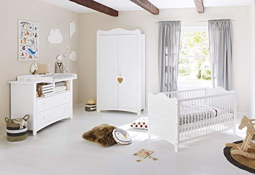 Pinolino Kinderzimmer Florentina, Kinderbett mit Lattenrost, Wickelkommode inkl. Wickelaufsatz und Schrank, für Babys und Kleinkinder, aus weißem Dekor