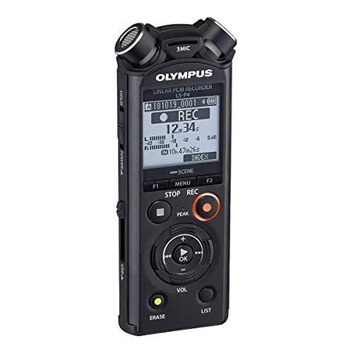 Olympus LS-P4 Interner Speicher + Speicherkarte Schwarz – Diktiergerät (253 h, Linear Pulse Code Modulation (LPCM), 31 h, FLAC, LPCM, MP3, PCM, 20 – 44000 Hz, 64 – 320 Kbit/s)