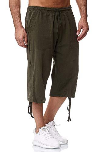 Herren Shorts 3/4 Loose Fit Bermuda Pants Kurze Sommer Hose, Farben:Grün, Größe Shorts:XL