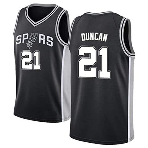 Herren Basketball-Trikots NBA San Antonio Spurs # 21 Tim Duncan Basketball-Trikot für Fans Training,Schwarz,L