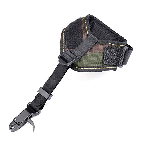 Chuangtong Release Aids Compound Bow Caliper Release Adjustable Camo Wrist Strap Archery Hunting Shooting Wrist Trigger (CT011 Camo)