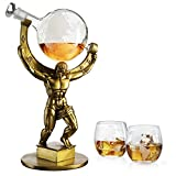 Atalas Bronze World Globe Whiskey Decanter Set - 15' Tall - With 2 World Glasses - For Whiskey, Scotch, Bourbon, Cognac and Brandy - 1000ml - By The Wine Savant - Atlas Decanter Whiskey