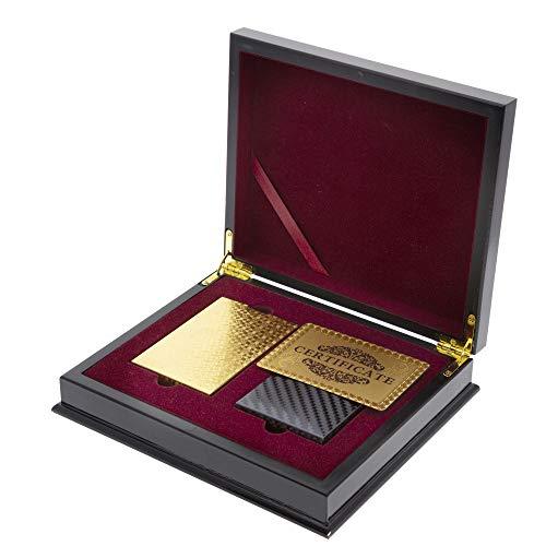Trendcool Cartas Poker. Baraja Poker Juego de Mesa con Caja Madera Maletin. Baraja de Cartas Poker Impermeable. Baraja Poker Negras, Doradas, Oro. (Gold+Black+Box)