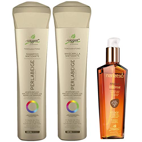 Naissant Set No Yellow Shampoo , Treatment Mask and Argan Oil. Color Care,Hair Intensifier and Damage Repair. Without Salt and Parabens for Blonde Hair (Perla Beige)