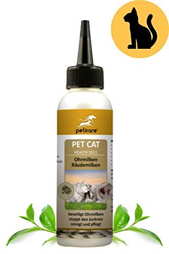 Peticare Ohren-Lösung bei Ohrmilben für Katzen - Wirksames Pflege-Mittel gegen Milben, Ohrräude, stoppt Juckreiz am Ohr, lindert Entzündungen, 100% natürlich - petCat Health 3011 (100 ml)