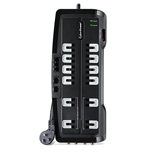 CyberPower CSHT1208TNC2 Home Theater Surge Protector 3150J/125V, 12 Outlets, 8ft Power Cord Black