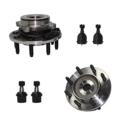 Detroit Axle - 6pc Front Wheel Hub & Bearing Assembly, Upper & Lower Ball Joints for 2006-2008 Dodge Ram 1500-4x4 Extended Crew/Mega Cab - [2006-2008 Ram 2500/ Ram 3500] - 4WD 8-Lug Models