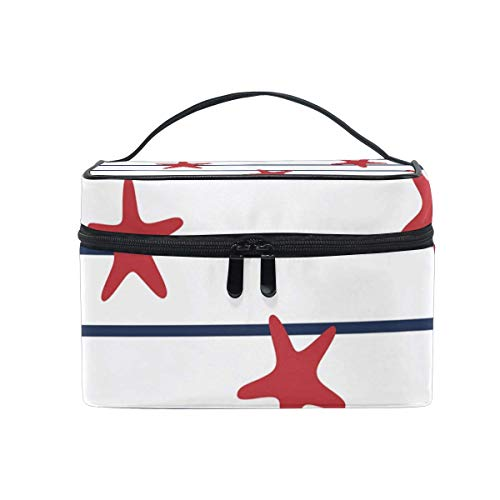 Vanity et Trousses à Maquillage Makeup Cosmetic Bag Red Sea Stars on Marine Stripes Portable Travel Train Case Toiletry Bags Organizer Multifunction Storage Travel Daily Carry