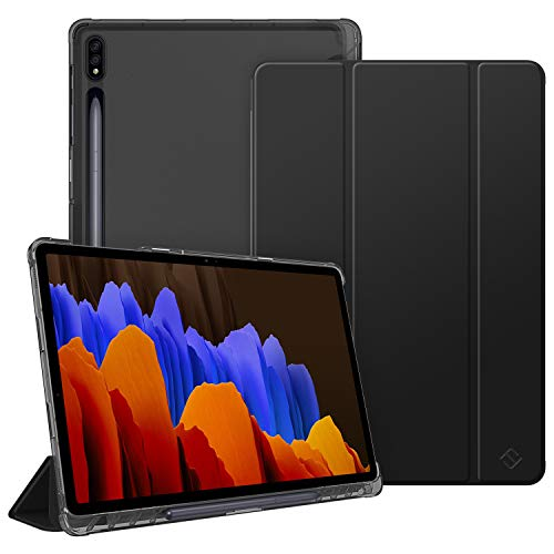 FINTIE Case for Samsung Galaxy Tab S7 Plus S7+ 12.4'' 2020 SM-T970/T976/T975 with S Pen Holder, Lightweight SlimShell with Translucent Frosted Stand Back Cover, Auto Wake/Sleep, Black