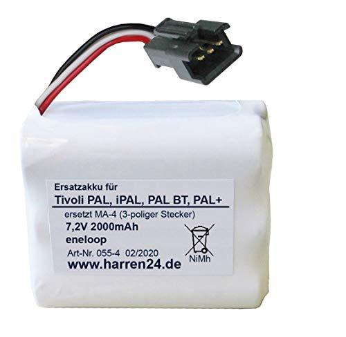 Harren24 Ersatzakku (3-poliger Stecker) kompatibel mit Tivoli PAL, iPAL, PAL BT, PAL+, ersetzt Akkus PP-2 und MA-4, High Power, gefertigt aus eneloop Zellen