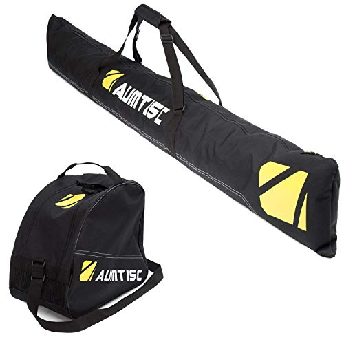 AUMTISC Ski Bag and Boot Bag Combo for 1 Pair of Ski Boots Adjustable Length Ski Bag