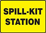 Accuform MCHL563VP Plastic Safety Sign, Legend'Spill-KIT Station', 7' Length x 10' Width x 0.055' Thickness, Black on Yellow