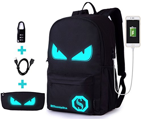 BSTcentelha Anime Borsa a tracolla luminosa leggera con scomparti per laptop per studenti Ragazzi Boy Girl Book Laptop Travel Camping Regalo perfetto per Halloween (Grande)