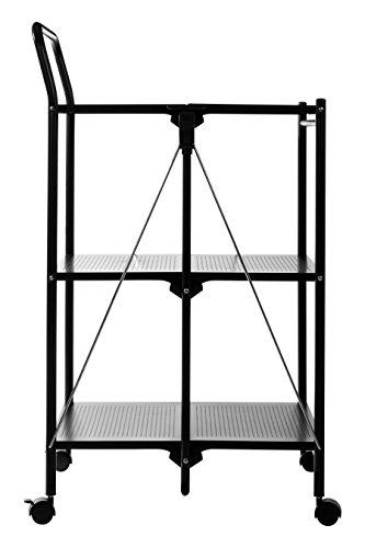 Premier Housewares Pieghevole Carrello da Cucina, plastica/Metallo Rivestito a Polvere, Black, 47x56x92 cm