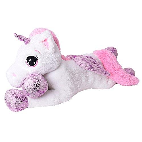 TE-Trend XXL Kuscheltier Riesen Einhorn Plüschtier Pferd Liegend 130 cm Glitzerhorn Flügel Schweif Unicorn Weiß