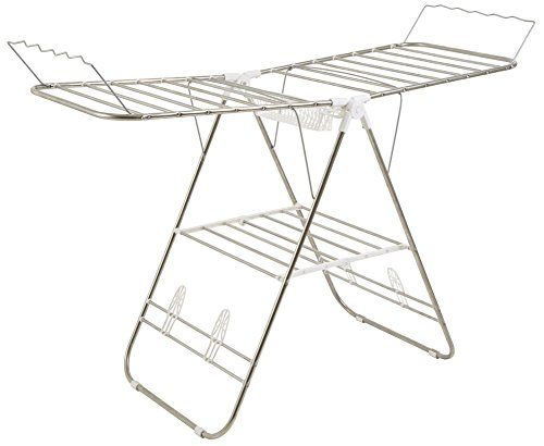 """Everyday Home Drying Rack – Folding, Indoor Outdoor Portable Dryer for Clothes, Towels, Linens – Laundry and Home Essentials, (L) 60"""" x (W) 23.3"""" x (H) 42"""", White"""