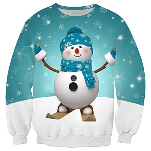 CAZOY Sweatshirt Mens Christmas Xmas 3D Funky Ugly Print Jumper Cardigan Pullover Sweater Men's Long Sleeve Round Neck Loose Fit Cotton Linen Tops T-Shirt Tees Shirts Party Blouse Autumn Winter Blue