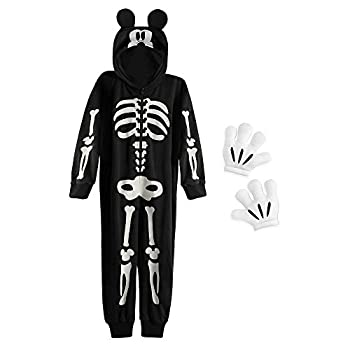 Disney Mickey Mouse Glow-in-The-Dark Skeleton Costume for Boys Size 9/10 Black