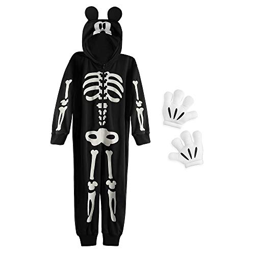 Disney Mickey Mouse - Disfraz de esqueleto que brilla en la oscuridad, talla 5/6, color negro