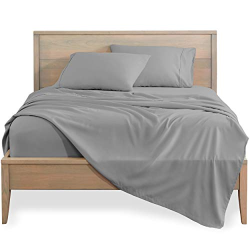 Bare Home California King Sheet Set - 1800 Ultra-Soft Microfiber Bed Sheets - Double Brushed Breathable Bedding - Hypoallergenic – Wrinkle Resistant - Deep Pocket (Cal King, Light Grey)