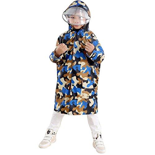 Highdas Network technology Ltd Highdas Kinder Tarnung Poncho mit großem Hut und Schulranzen Platz Baby-Regenmantel (Yellow Camouflage) XL / 8-11Y