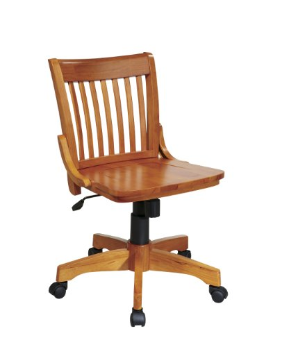 Office Star Deluxe Armless Wood Bankers Desk Chair with Wood...