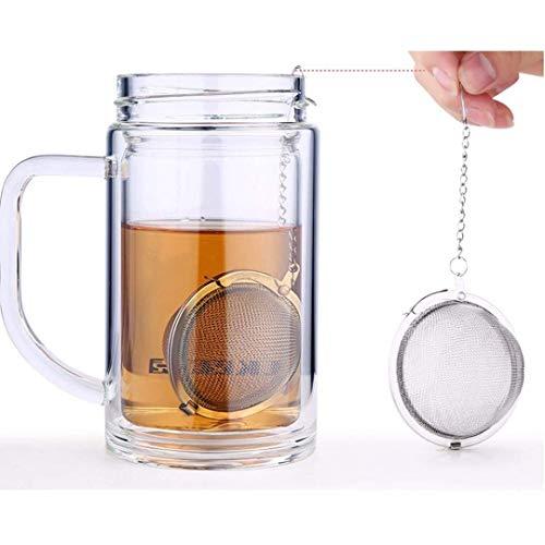 Ogquaton Premium Qualität Tee-Ei Edelstahl Ball Tee Gewürz Sieb Mesh Filter Blatt mit Deckel Kette 9 x 9 x 7 cm