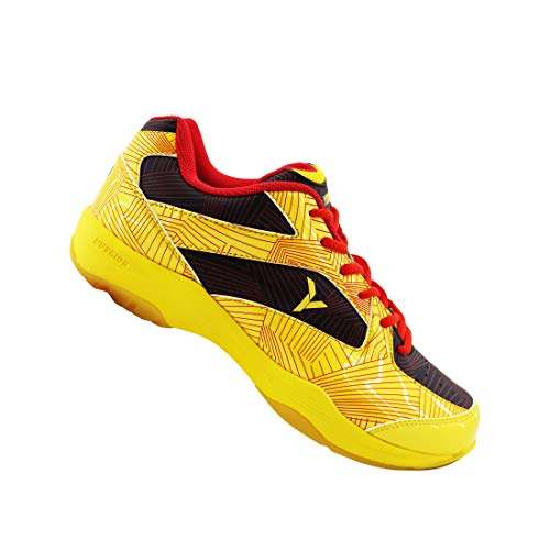 Young Starter Edition 1 Badminton/Pickleball Indoor Court Sports Shoes; Anti-Slip, Non-Marking Rubber Outsole, Enhances Comfort & Performance, Absorbs Vibration & Lightweight (Yellow/Black, numeric_9_point_5)