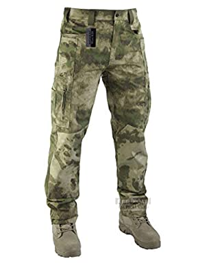 Survival Tactical Gear Lightweight Men's Ripstop Pants Outdoor Military Camo Cargo Trousers for Camping Hiking (FG Camo, M)