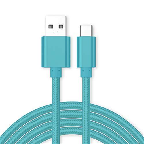 Kit Me Out® [1M 1 Metro [3.1A Cargador Rápida] Cable De Carga Rápida USB C para Huawei P20 Lite, Tipo C Sincronización Cable Trenzado Nilón Nylon [USB 3.0] - Azul Claro