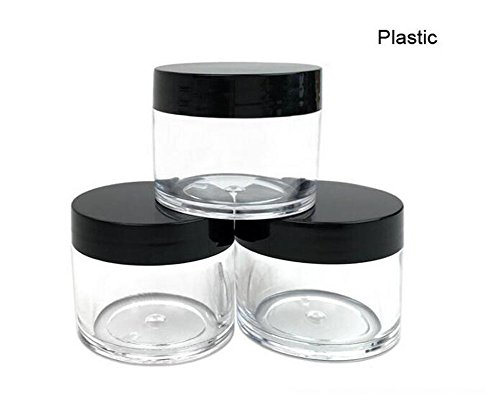 30g 30ml/1oz Refillable Black and White Plastic Screw Cap Lid with Clear Base Empty Cosmetic Jars for Nail Powder Bottles Eye Shadow Container Lot Powder Storage Container (Pack of 10) (Black Lid)