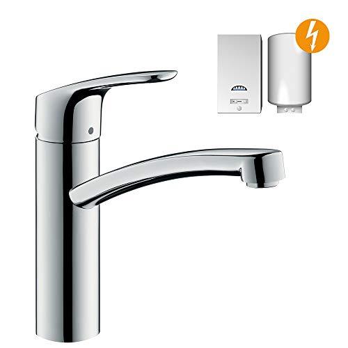 hansgrohe Focus Küchenarmatur (Wasserhahn Küche ohne Schlauchbox, für Niederdruck, 360° schwenkbar, hoher Auslauf 160mm) Chrom
