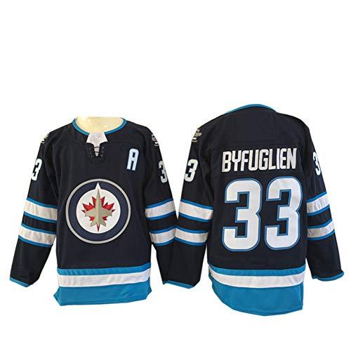 Winnipeg Jets Eishockey Trikots, Patrik Laine # 29 Dustin Byfuglien # 33 NHL Herren Sweatshirts, Blue Breathable Long Sleeve T-Shirt,Black33,M