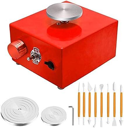 SISHUINIANHUA Mini Rueda de alfarería, máquina de alfarería eléctrica de la máquina de cerámica con la Placa giratoria de la Rueda de la alfona DIY Herramienta de Arcilla
