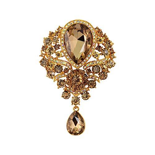 Julhold Broschen Damen Schnallen Broschen Europäische Und Amerikanische Luxus-Bankettschmuck-Mode Diamant-Wassertropfen-Brosche Blusen Clips Kopftuch Diamant Abzeichen Kostümzubehör(B)